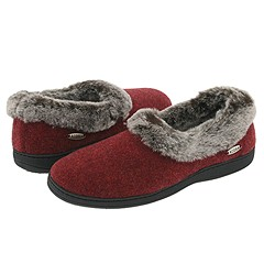 image of Acorn Faux Chinchilla Collar (Crackleberry) Women's Slippers
