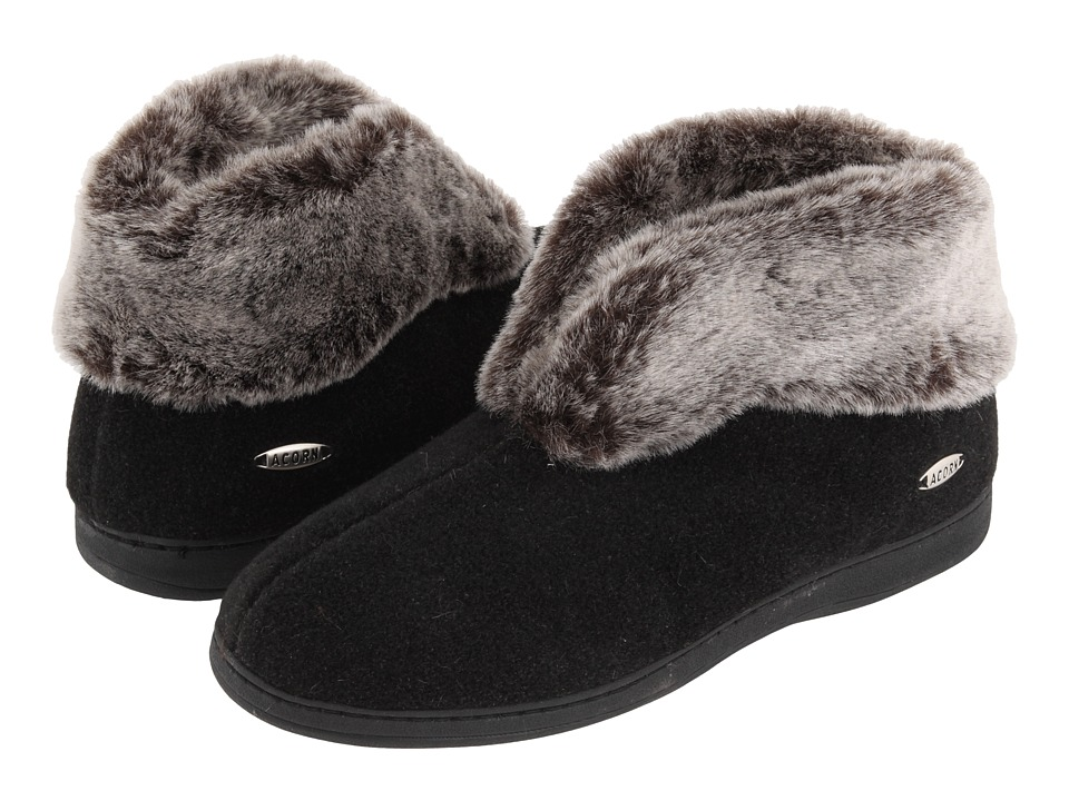 image of Acorn Faux Chinchilla Bootie II (Black) Women's Boots