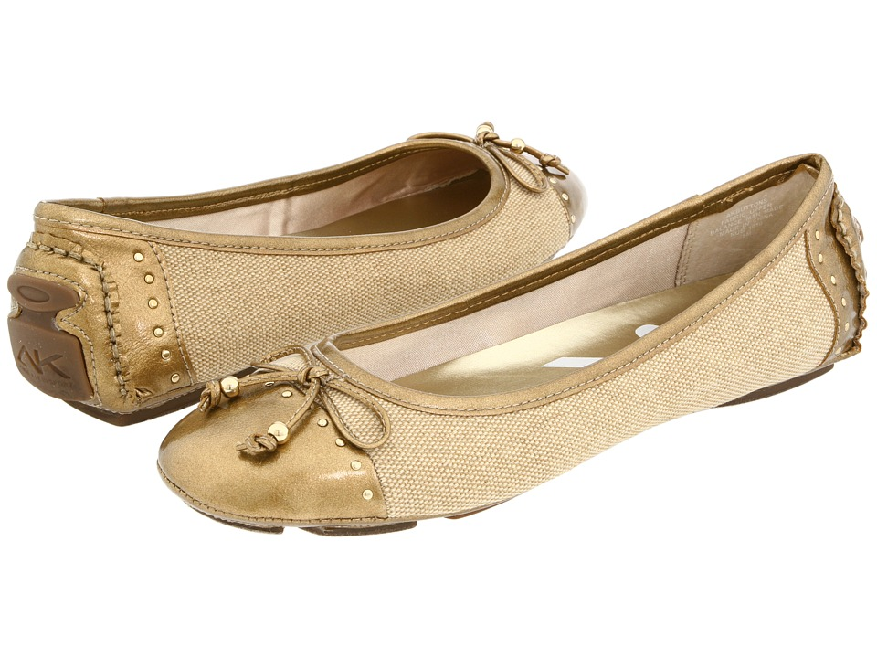 image of Anne Klein Buttons (Natural Linen Material) Women's Flat Shoes