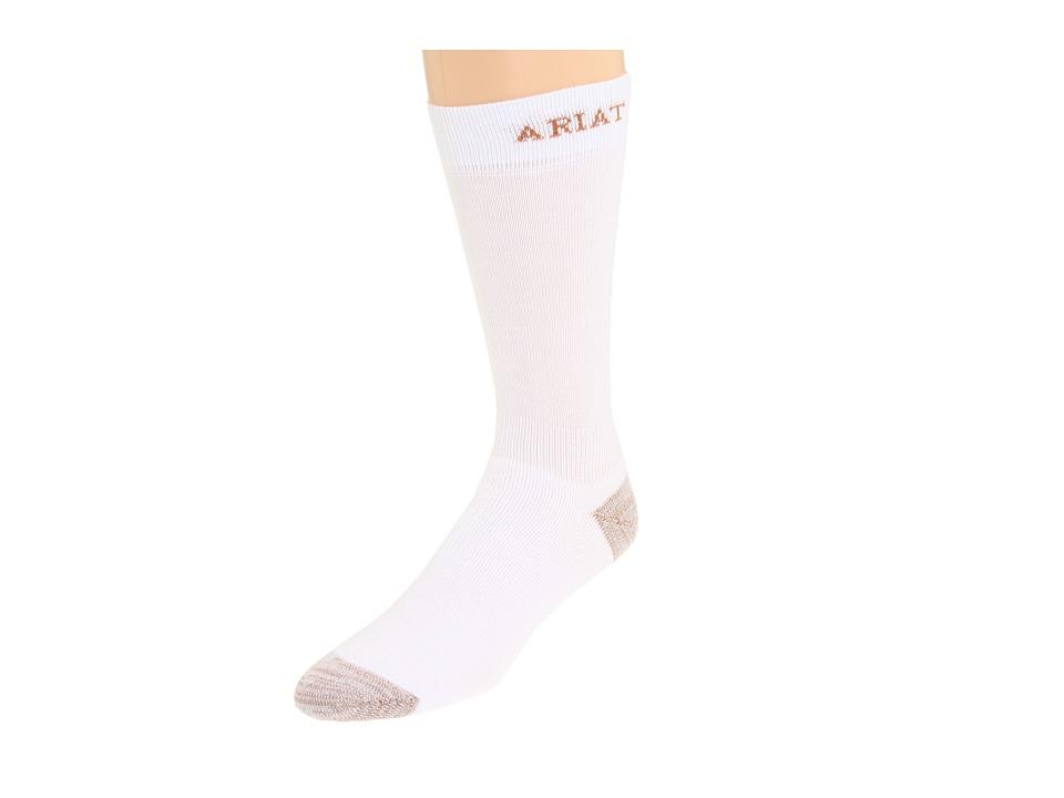 image of Ariat Sport Socks 1-Pair Pack (White) Men's Crew Cut Socks Shoes