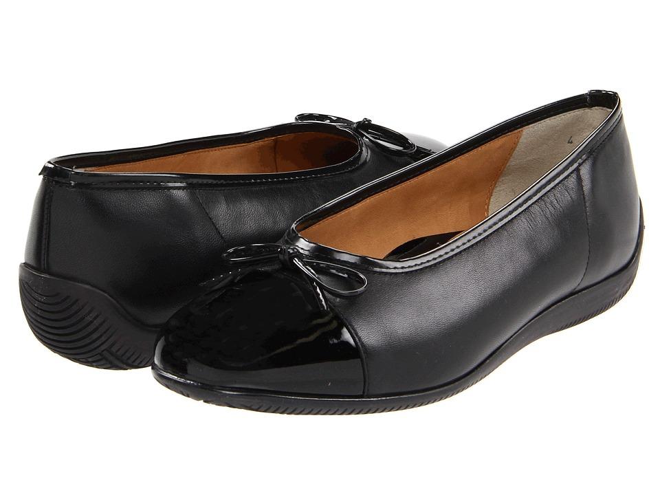 image of ara Bella (Black Leather w/Patent Toe) Women's Dress Flat Shoes