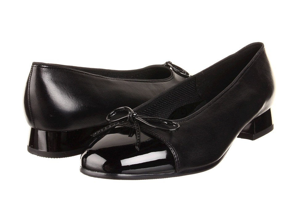 image of ara Bel (Black Nappa w/Patent Tip) Women's Slip-on Dress Shoes