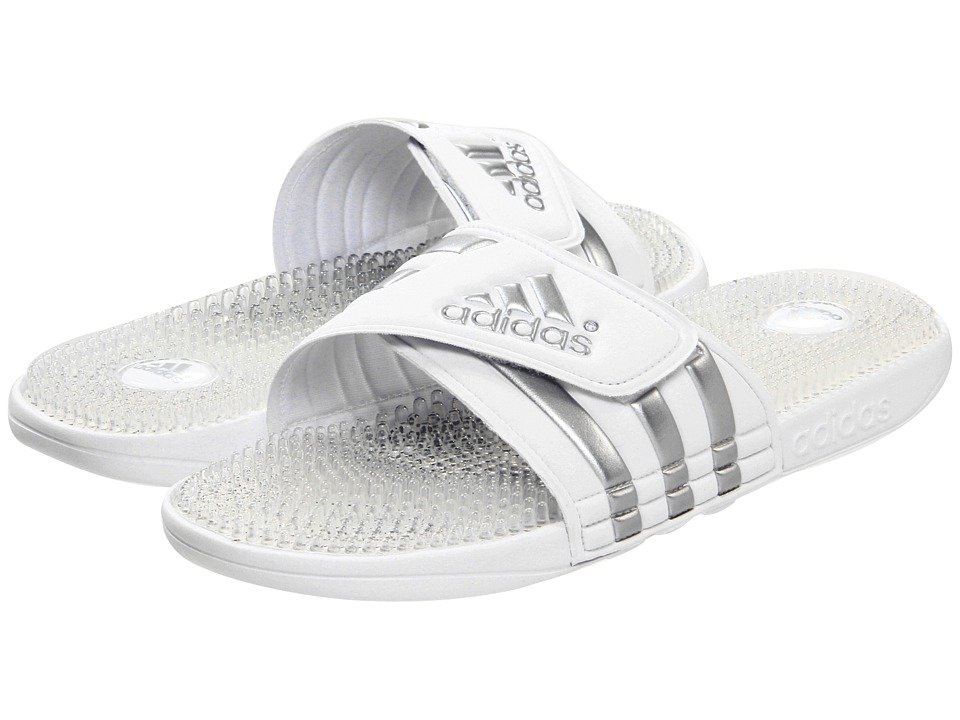 image of adidas adissage Fade (Running White/Metallic Silver/Dark Onix) Men's Slide Shoes