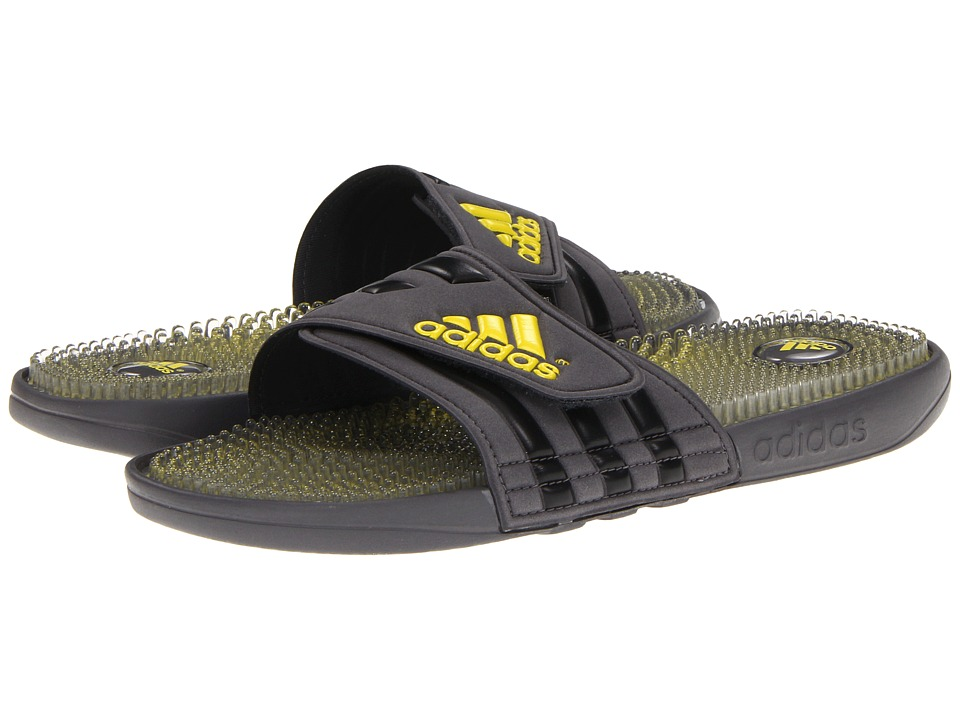 image of adidas adissage Fade (Dark Onix/Tech Grey/Vivid Yellow) Men's Slide Shoes