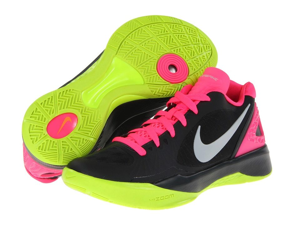 13a1e9b4aada Nike Volley Zoom Hyperspike (Anthracite Pink Flash Volt Metallic Platinum)  Women s Volleyball Shoes