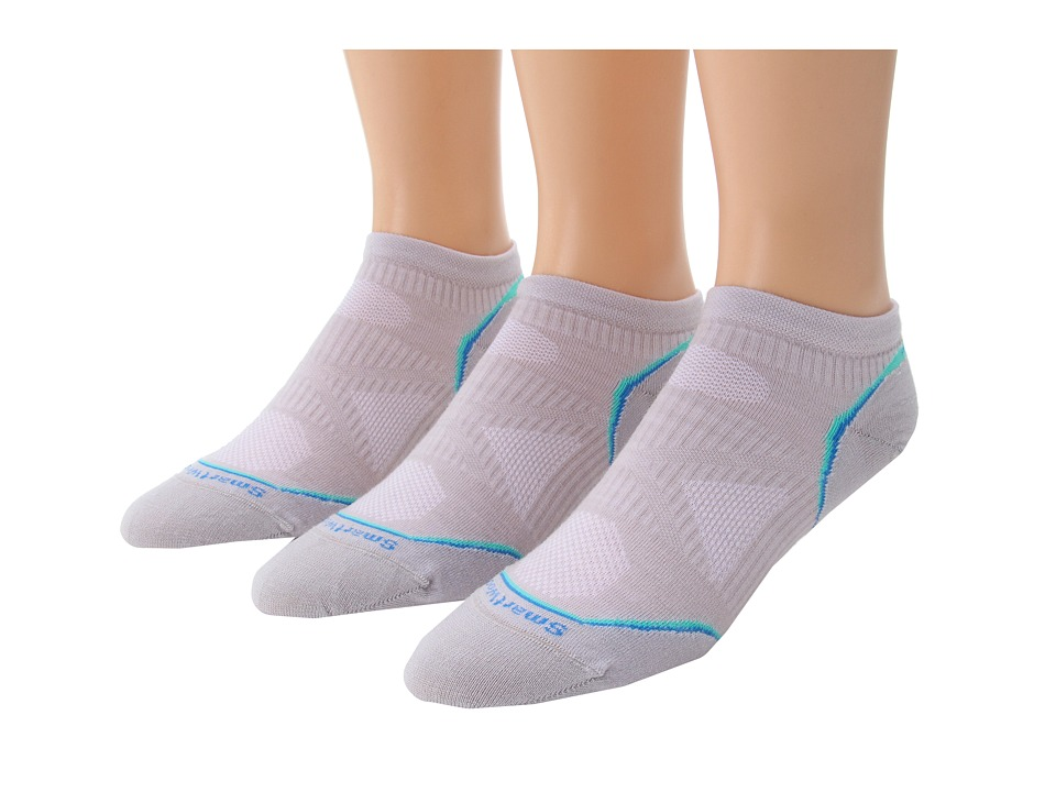 image of Smartwool PhD Cycle Ultra Light Micro 3-Pack (Silver1) Women's Low Cut Socks Shoes