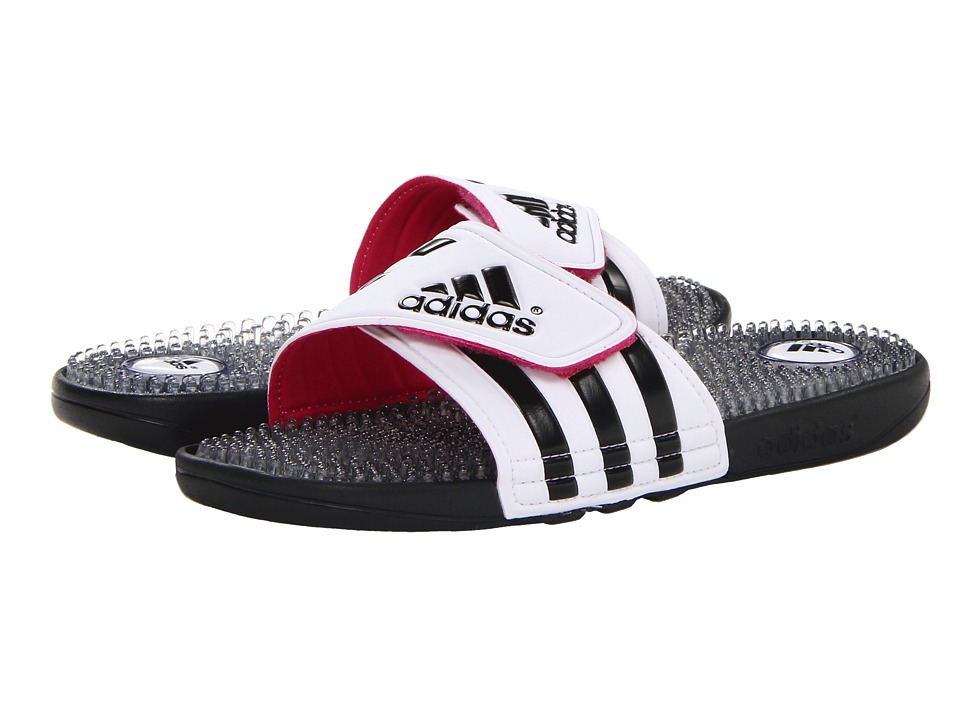 image of adidas adissage Fade (Running White/Black/Blast Pink) Women's Slide Shoes