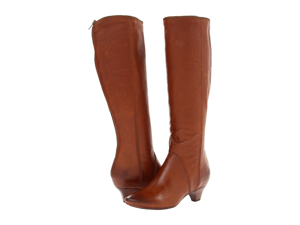 image of Frye Steffi Zip Tall (Cognac Soft Vintage Leather) Cowboy Boots