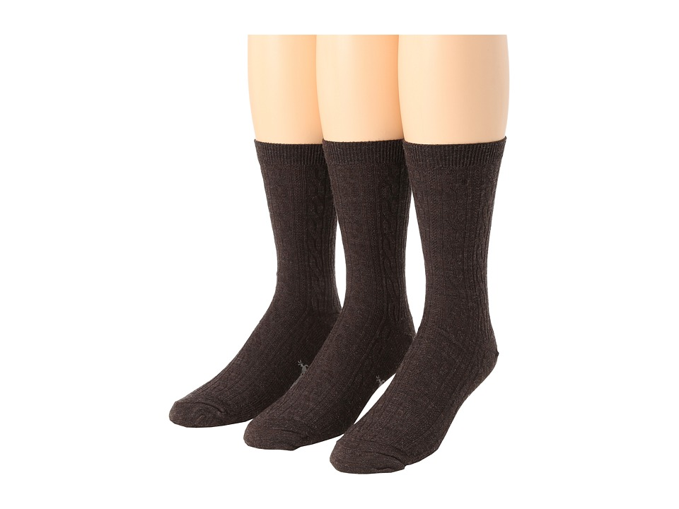 image of Smartwool Cable 3-Pair Pack (Chestnut Heather) Women's Crew Cut Socks Shoes