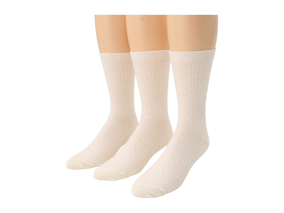 image of Smartwool Cable 3-Pair Pack (Natural) Women's Crew Cut Socks Shoes