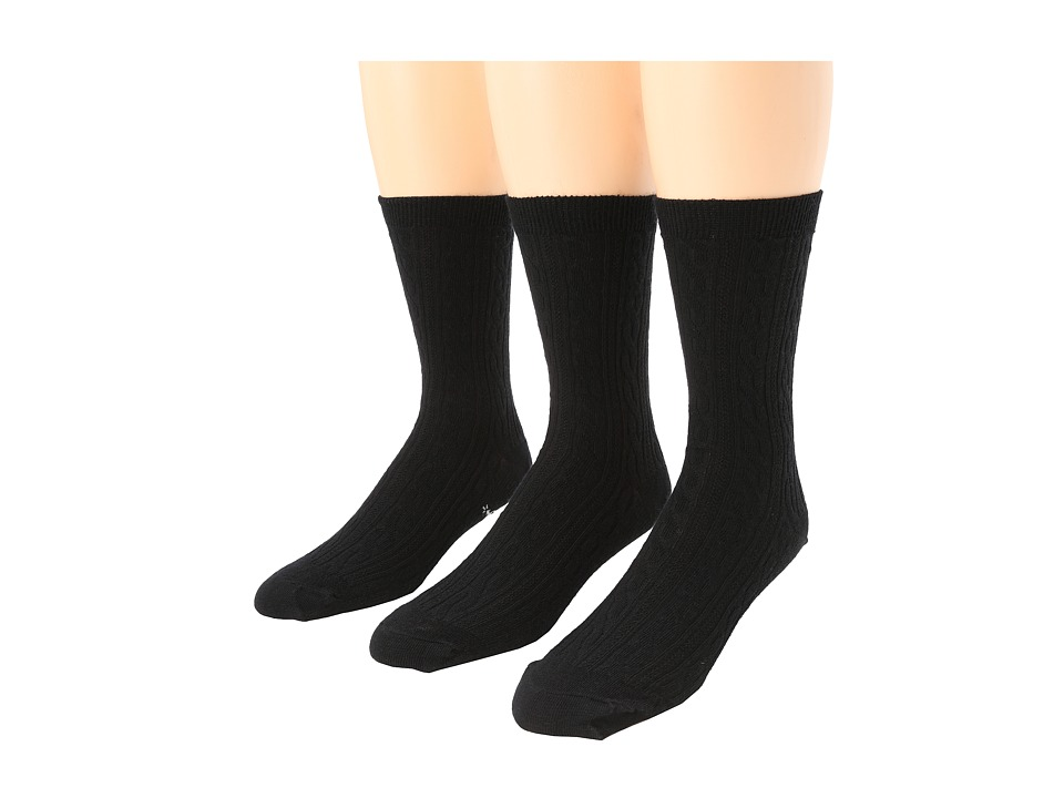 image of Smartwool Cable 3-Pair Pack (Black) Women's Crew Cut Socks Shoes