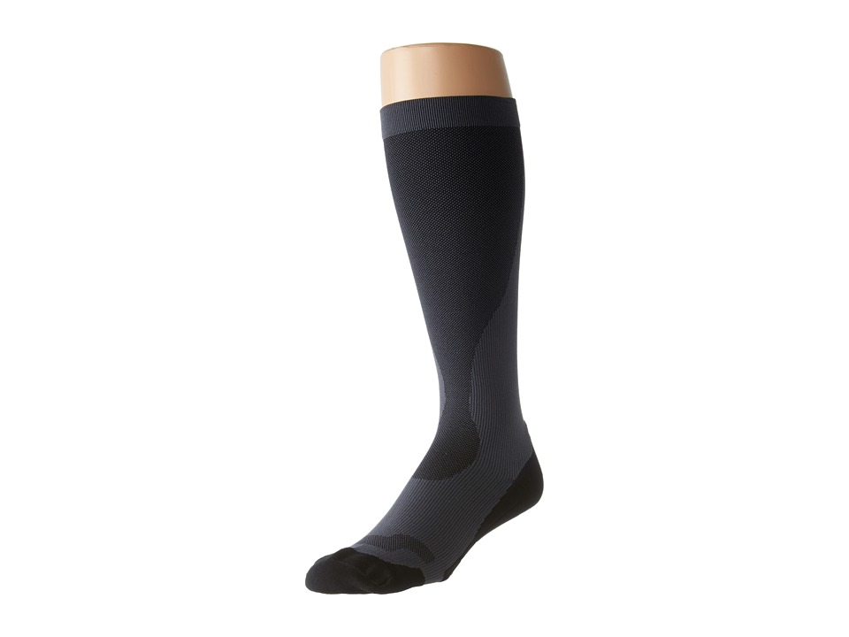 image of 2XU Compression Performance Run Sock (Titanium/Black) Men's Knee High Socks Shoes