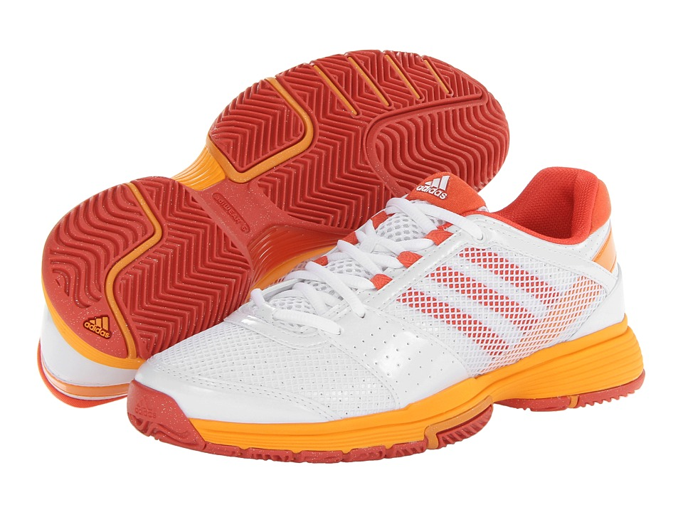 image of adidas adipower Barricade Team 3 (Running White/Coral/Joy Orange) Women's Tennis Shoes