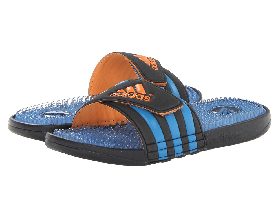 image of adidas Adissage Fade Graphic (Black/Solar Zest/Solar Blue) Men's Slide Shoes