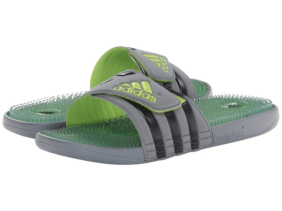 image of adidas Adissage Fade Graphic (Tech Grey/Black/Solar Slime) Men's Slide Shoes