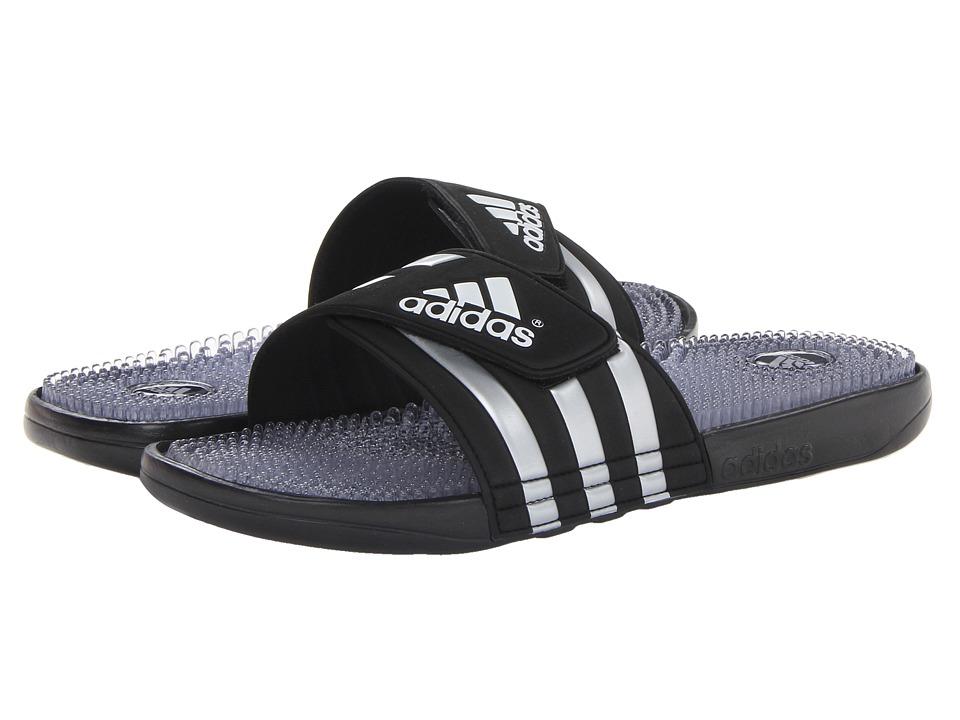 image of adidas adissage Fade (Black/Metallic Silver/Running White) Men's Slide Shoes