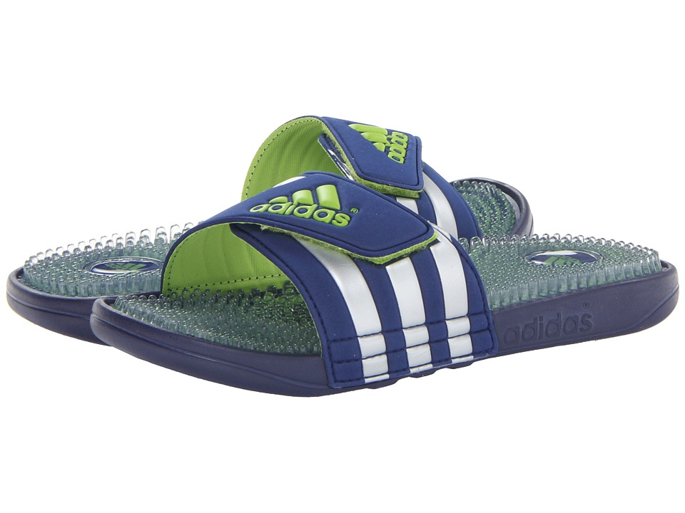 image of adidas adissage Fade (Night Blue/Metallic Silver/Solar Slime) Men's Slide Shoes