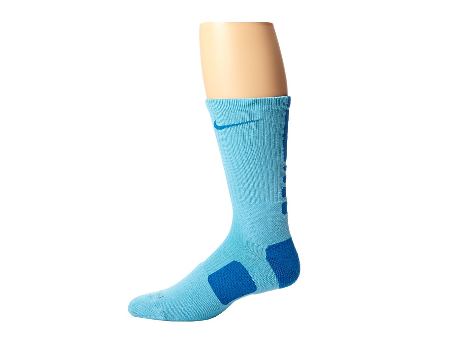 image of Nike Nike Elite Basketball Crew 1-Pair Pack (Polarized Blue/Military Blue) Crew Cut Socks Shoes
