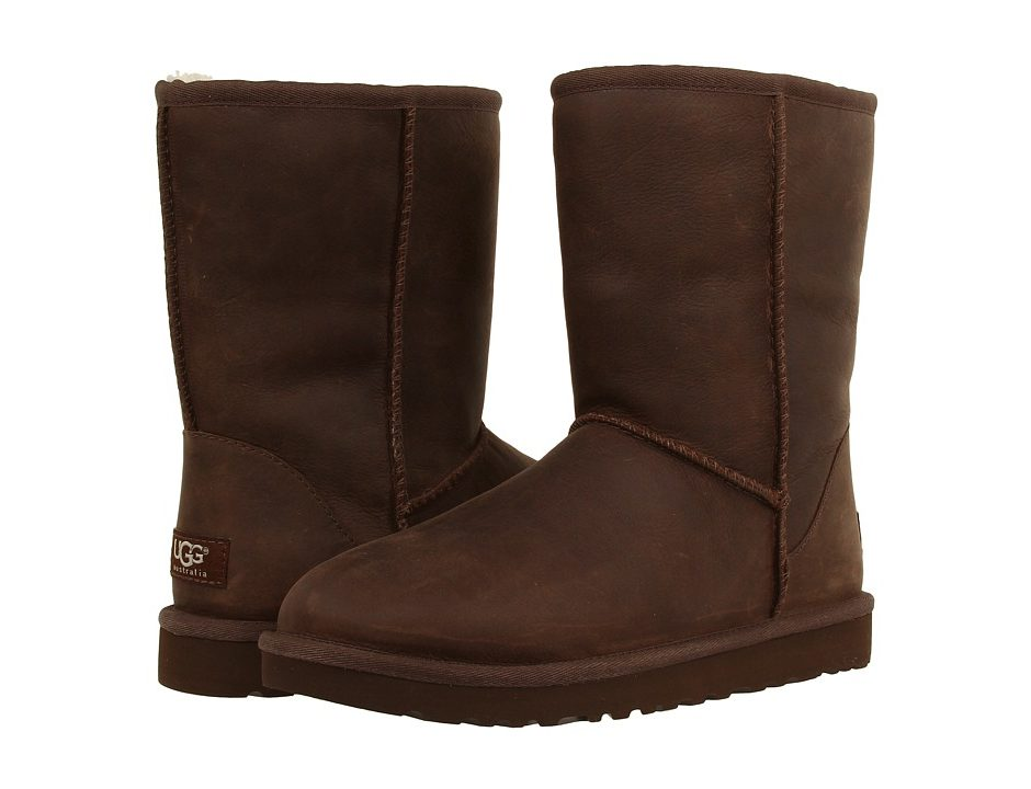 ugg classic short leather brownstone women s cold weather boots rh footwearzen com