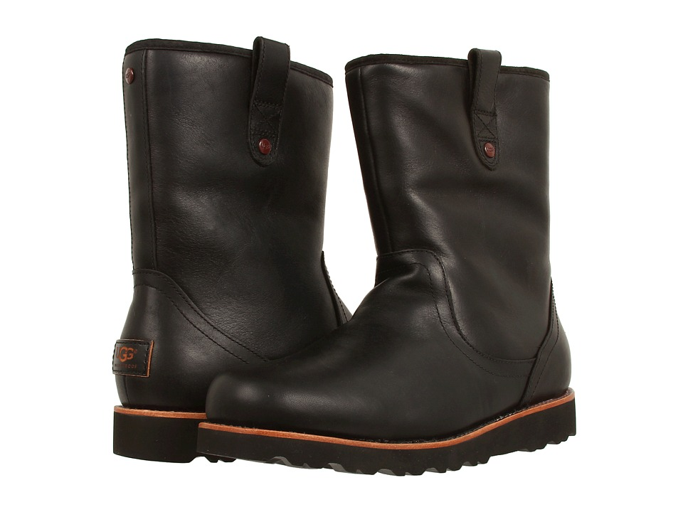 image of UGG Stoneman (Black Leather '14) Men's Pull-on Boots