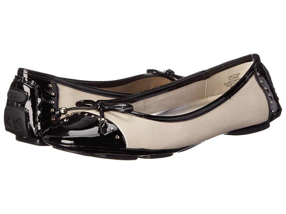 image of Anne Klein Buttons (Ivory/Black) Women's Flat Shoes