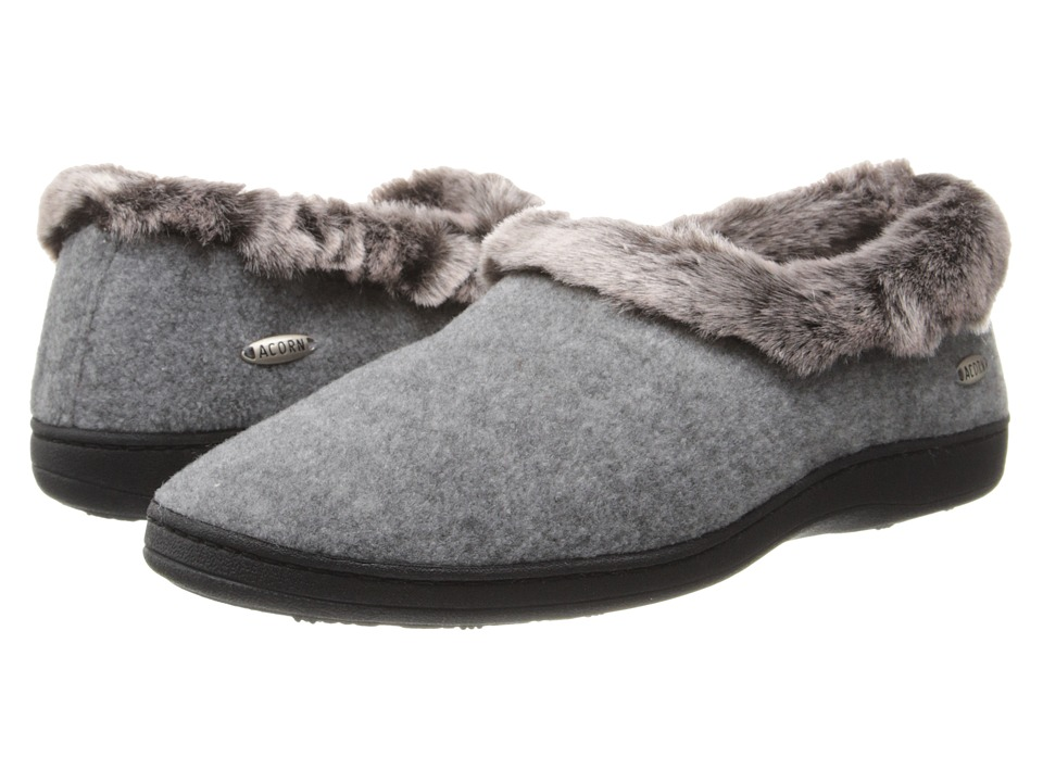 image of Acorn Faux Chinchilla Collar (Stone) Women's Slippers