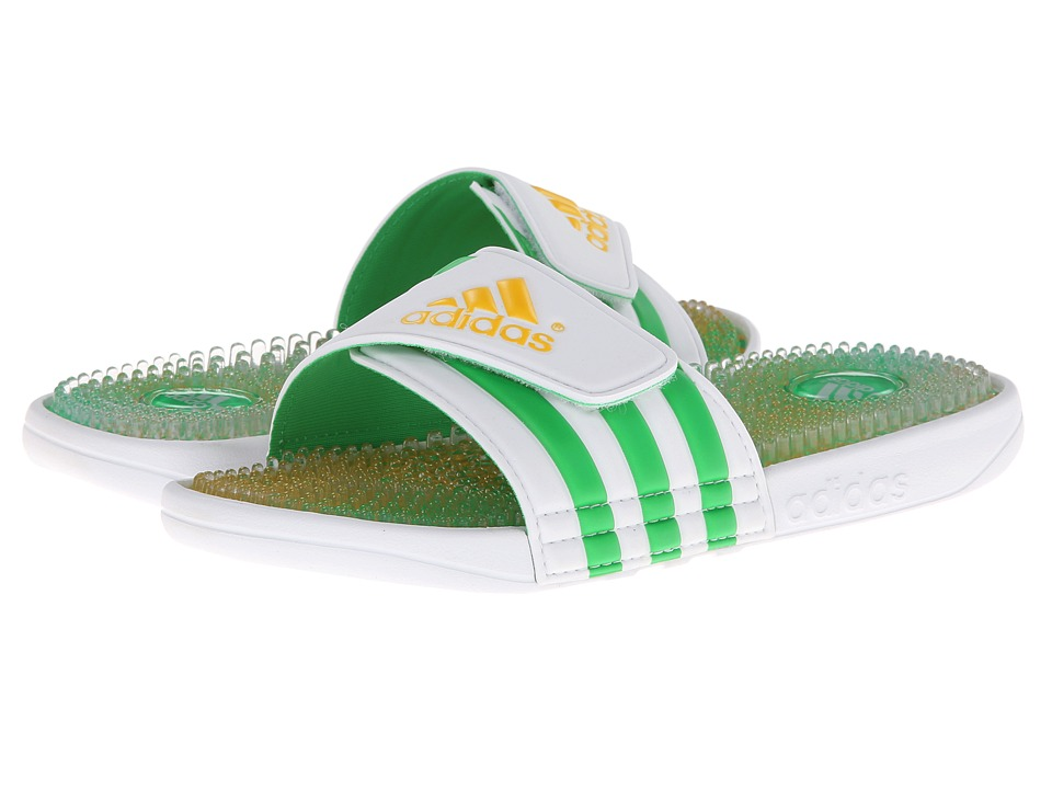 image of adidas adissage Brazil (Core White/Vivid Green) Men's Shoes
