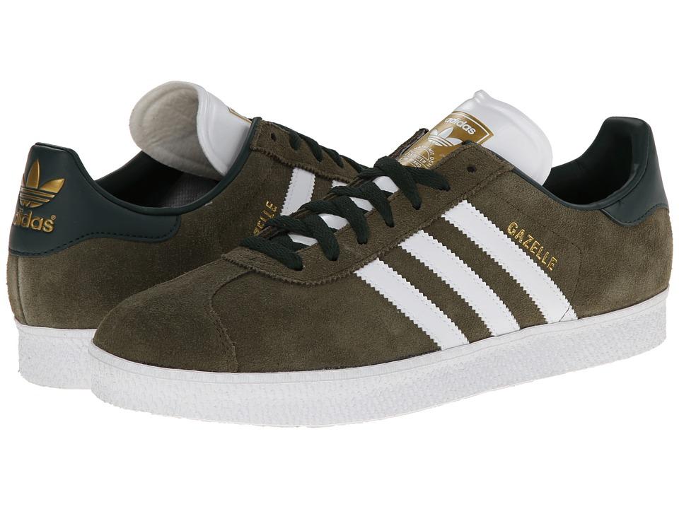 image of adidas Originals Gazelle (St Dark Cargo/Core White/Gold Metallic) Classic Shoes
