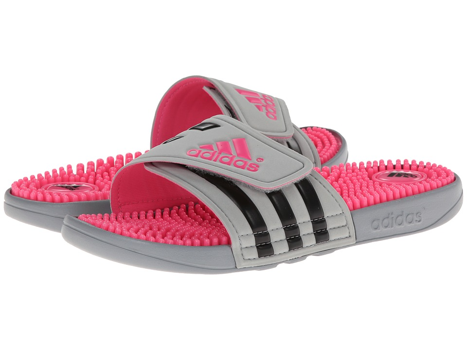 image of adidas adissage (Mid Grey/Black/Solar Pink) Women's Sandals