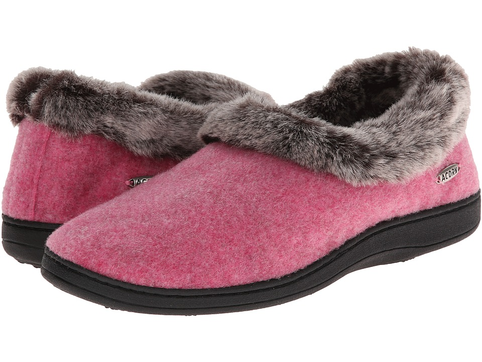 image of Acorn Faux Chinchilla Collar (Rose) Women's Slippers