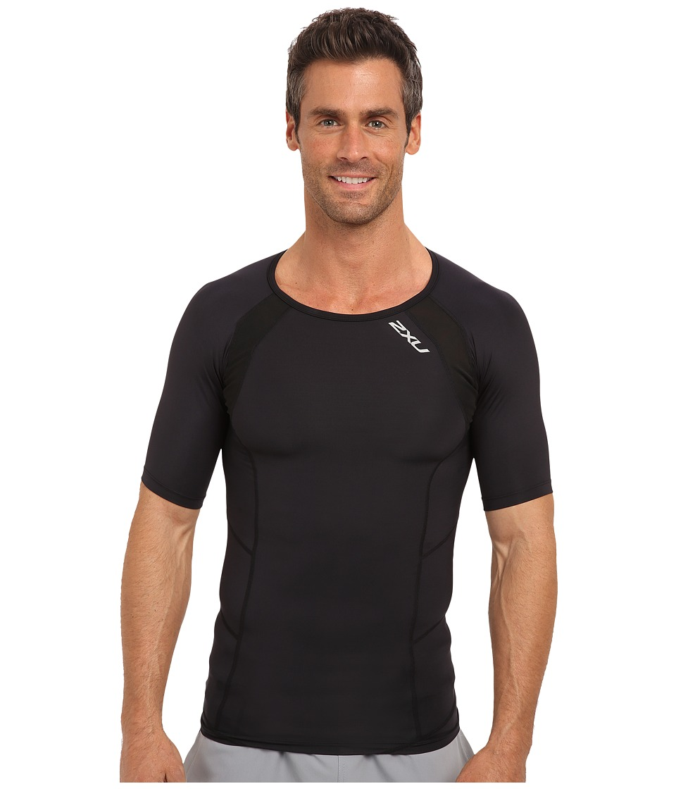image of 2XU Compression S/S Top (Black/Black) Men's Short Sleeve Pullover