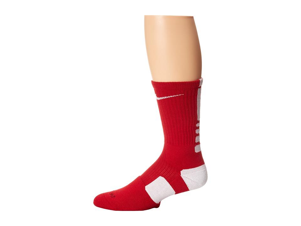 image of Nike Nike Elite Basketball Crew 1-Pair Pack (Varsity Red/White/(White)) Crew Cut Socks Shoes