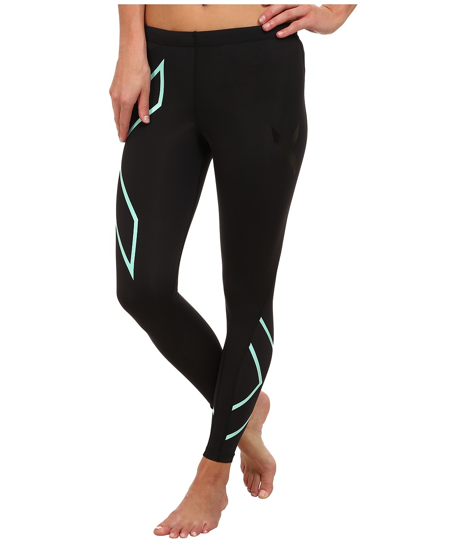 image of 2XU Compression Tights (Black/Ice Green) Women's Workout