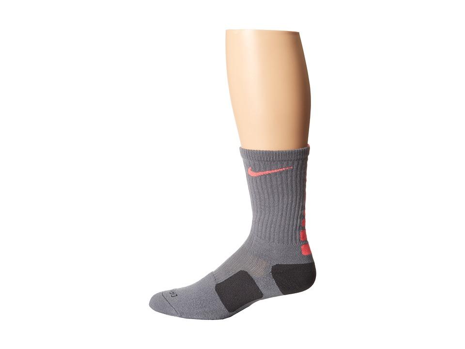 image of Nike Nike Elite Basketball Crew 1-Pair Pack (Cool Grey/Hyper Crimson/Hyper Punch) Crew Cut Socks Shoes